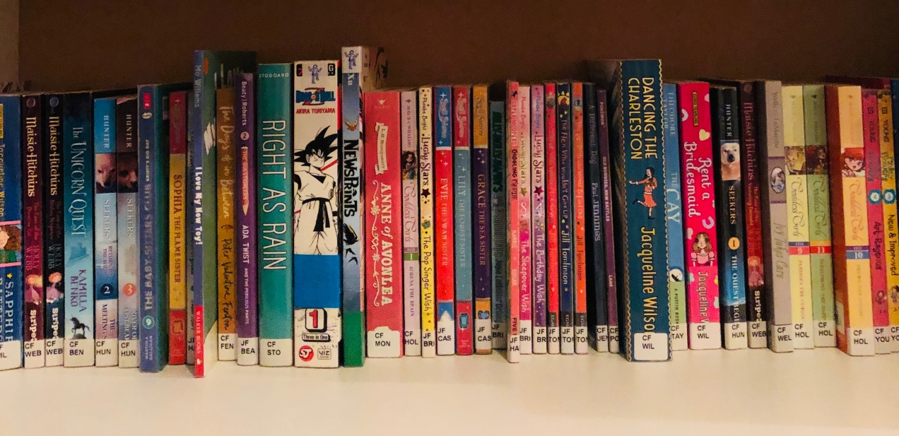 children's library books on a shelf