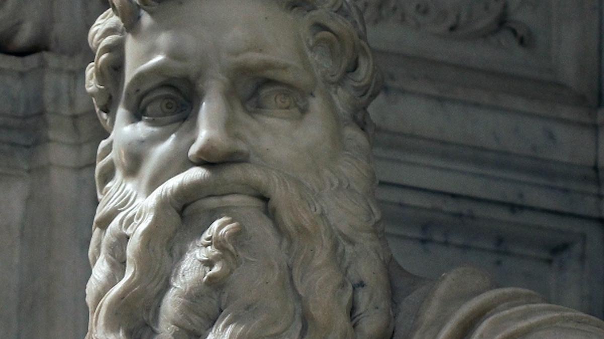 close-up of Michelangelo's statue of Moses